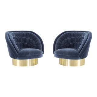 Pair of Vladimir Kagan Crescent Chairs Freshly Reupholstered For Sale