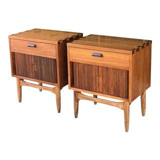 Pair of Tambour Nightstands by Lane Altavista For Sale