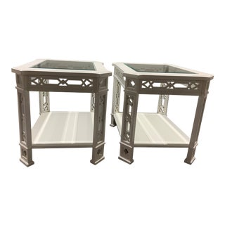 White Fretwork Side Tables - a Pair For Sale