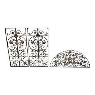 Rustic Three Piece Iron + Ornate Sculptural Wall Set For Sale