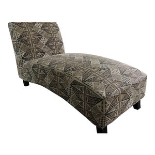 Quadrille Fabric Chaise Lounge For Sale