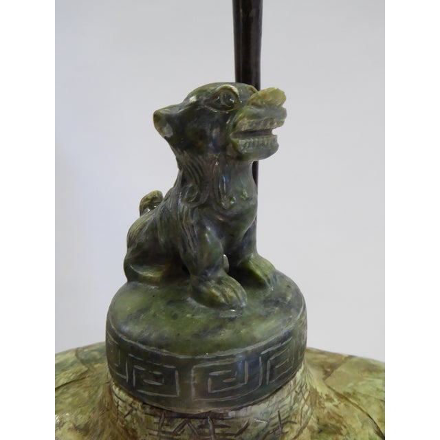 1940s Large Carved Asian Soapstone Vessel Table Lamp 1940s For Sale - Image 5 of 11