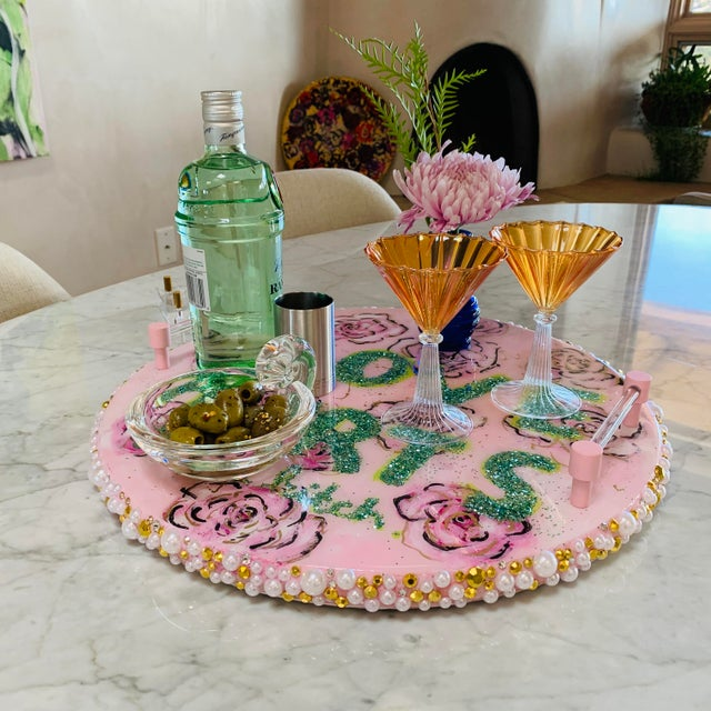 2010s Original Serving Tray With Lucite Stand For Sale - Image 5 of 13
