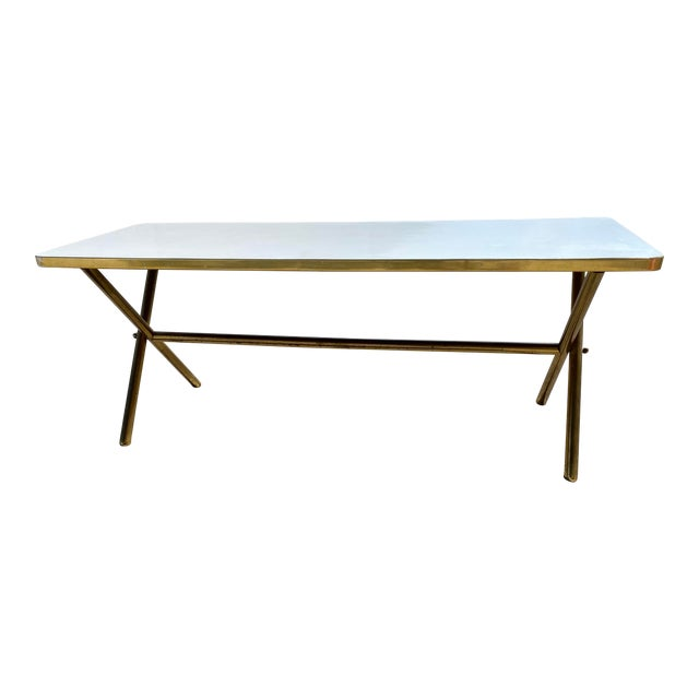 Brass X Frame Cofee Table For Sale