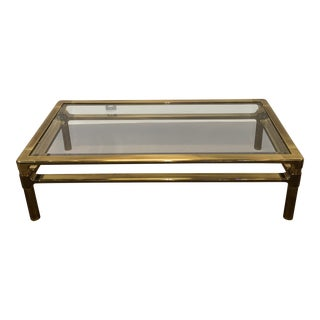 1970s Mid-Century Modern Mastercraft Brass Coffee Table For Sale
