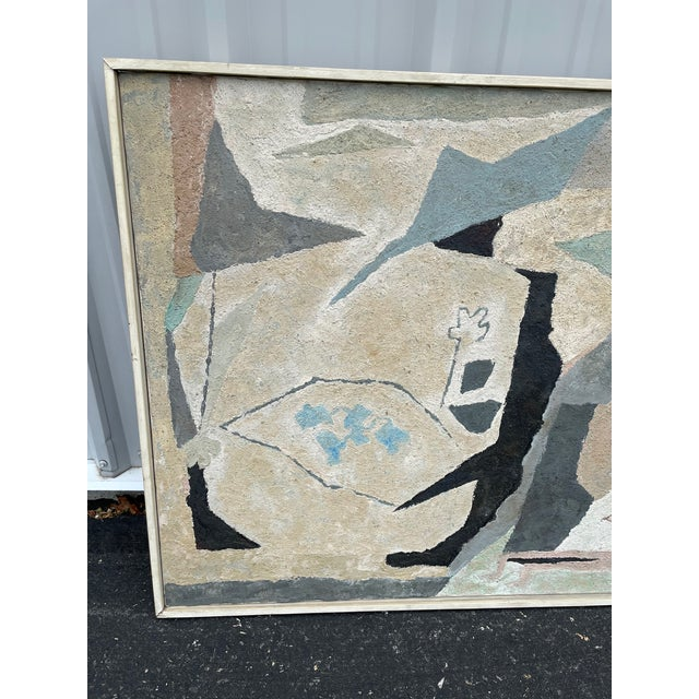 Mid-Century Modern Abstract in Soft Gray Black and Blue For Sale - Image 12 of 12