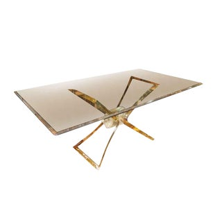 Lucite Butterfly Base With Beveled Glass Top Dining Table For Sale