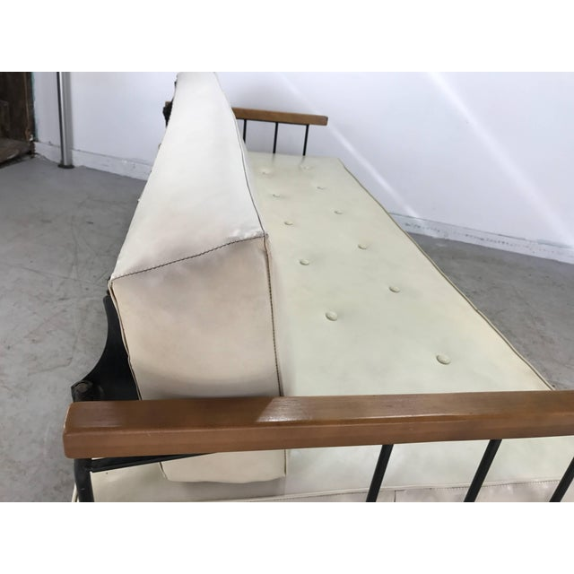 Classic Modernist Iron and Wood Sofa/Daybed in the Manner of Weinberg-Salterini For Sale - Image 9 of 10