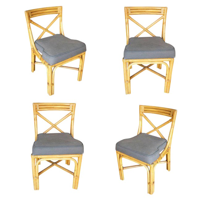 Restored Mid-Century Era Rattan Dining Side Chairs With X-Back- Set of 4 For Sale