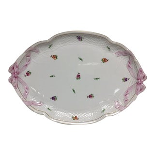 Herend Printemps Oval Ribbon Tray For Sale