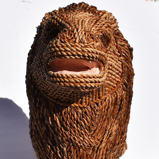 1950s Mario Torres Lopez Style Wicker Raffia Lion Animal For Sale - Image 5 of 11