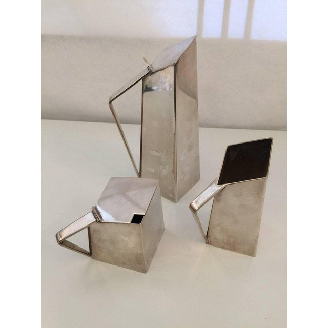 Geometric Design Silver-Plate Tea or Coffee Service in the Manner of Gio Ponti - Set of 3 For Sale - Image 4 of 6