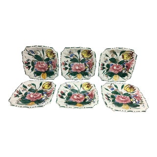 Hand Painted Italian Floral Plates - Set of 6 For Sale