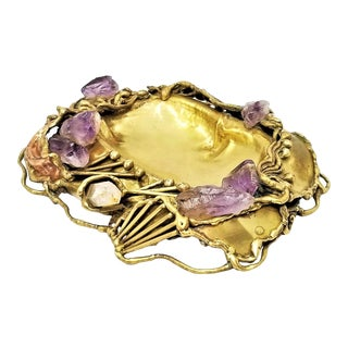 1970s Brutalist Amethyst Rock Quartz Crystal Brass Bowl or Dish by Copa Collection Brazil - Signed For Sale