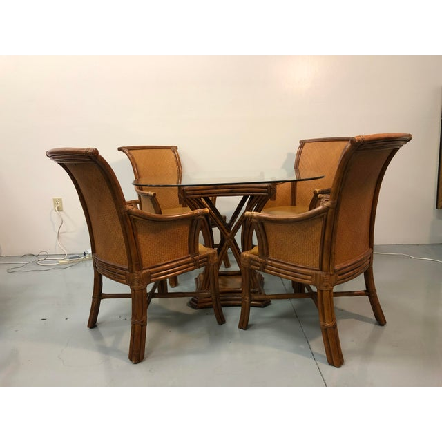 Bamboo Rattan Breakfast Table Set For Sale - Image 9 of 9
