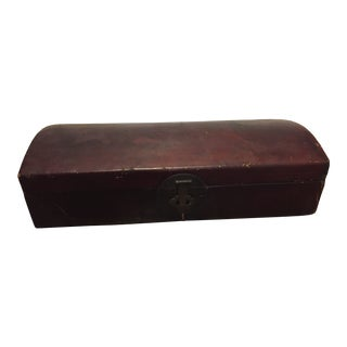 Antique Chinese Leather Scroll Box For Sale