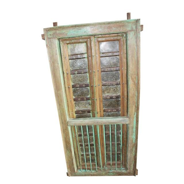 Vintage Indian Carved Teak Wood Green Solid Wooden Jharokha Window Door For Sale