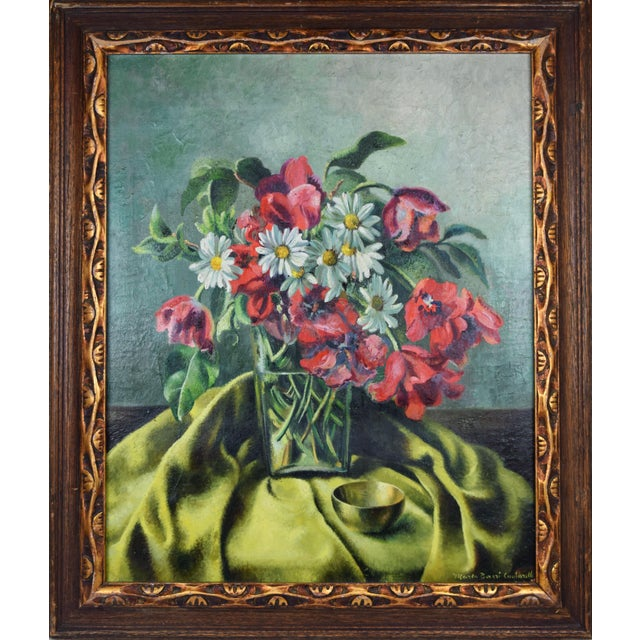 Vintage Modernist Floral Still Life Oil Painting With Tulips & Daisies For Sale