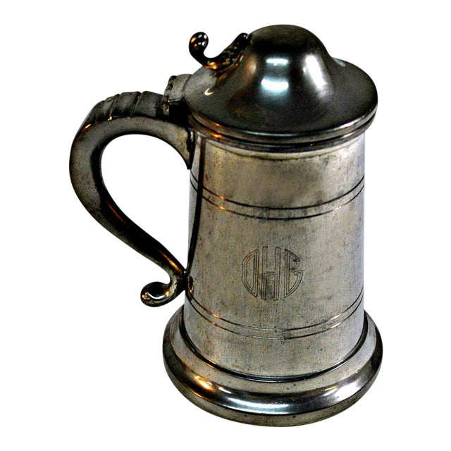English Pewter Clear Bottom Beer Tankard Mug - Image 1 of 7