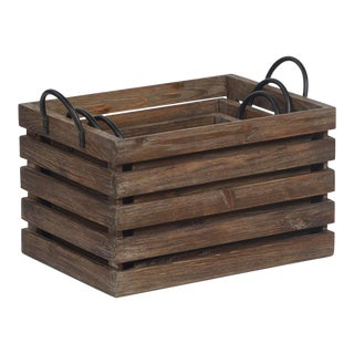 Reclaimed Wood Storage Crate (set of three) For Sale