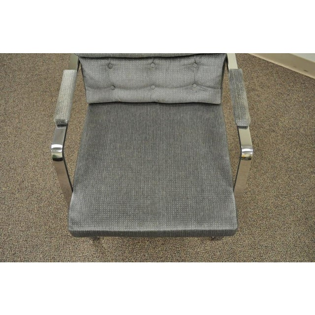 Metal Pair Vintage Mid Century Modern Chrome Steel Cantilever Arm Chairs Baughman Style For Sale - Image 7 of 11
