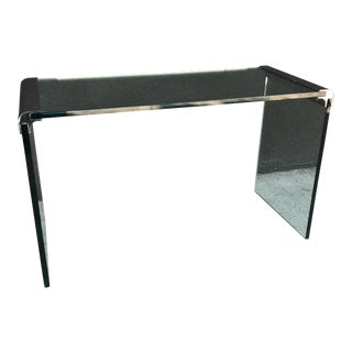 Leon Rosen Waterfall Glass Console For Sale