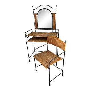 Mid-Century French Style Woven Wicker Wrought Iron Vanity Desk and Chair - 2 Pieces For Sale