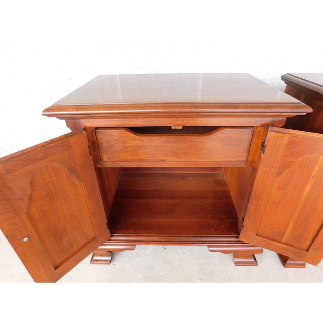 Pennsylvania House Pennsylvania House Chippendale Style Solid Cherry Nightstands - a Pair For Sale - Image 4 of 13