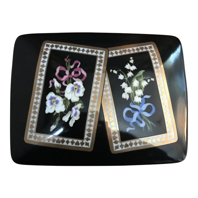 Vintage Sybil Connolly Tiffany & Co Ceramic Floral Playing Card Holder Case For Sale