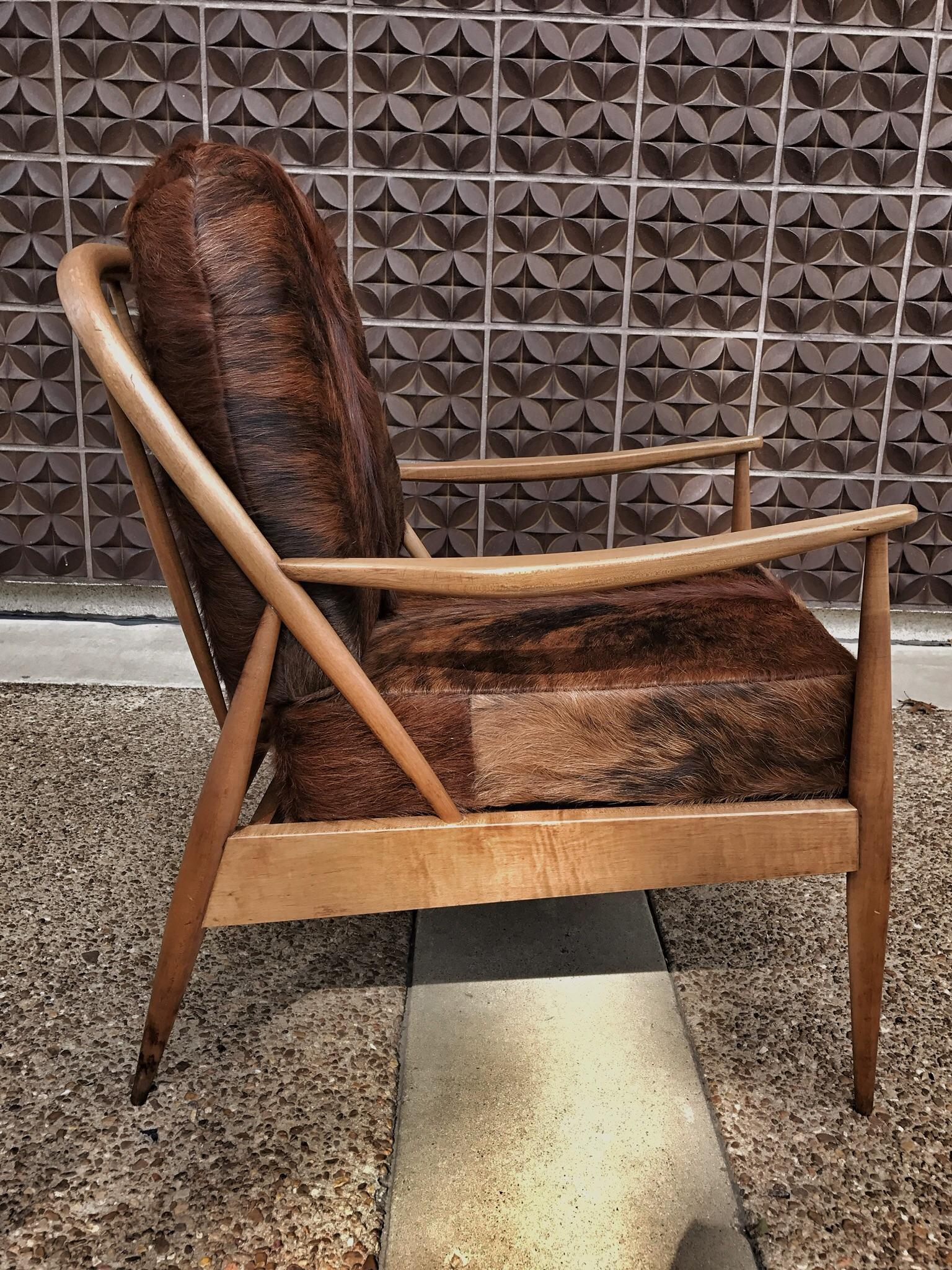 Danish Mid Century Modern Cowhide Chair For Sale   Image 5 Of 8