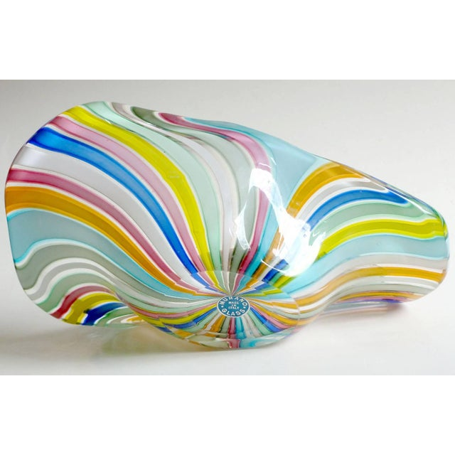 Murano Fratelli Toso Murano Rainbow Colors Filigrana Ribbons Italian Vintage Art Glass Bowl For Sale - Image 4 of 6