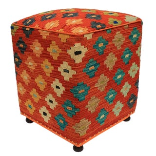 Handmade Kilim Upholstered Ottoman For Sale