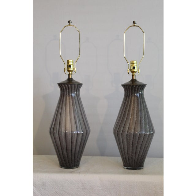 Vintage Modern Tapered Striped Murano Table Lamps - a Pair For Sale - Image 10 of 10