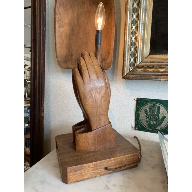 Incredible accent lamp with raised hands- great woodworking! Could be seen as Praying hands.