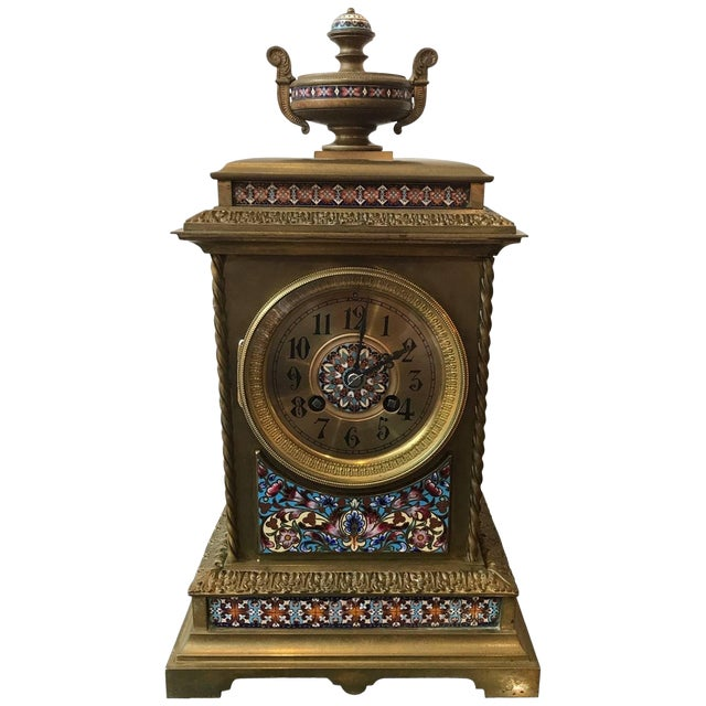 19th Century Antique French Champlevé Mantle Clock For Sale