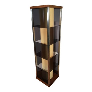 1970s Mid-Century Modern Lucite & Wood Tall Floor Lamp For Sale