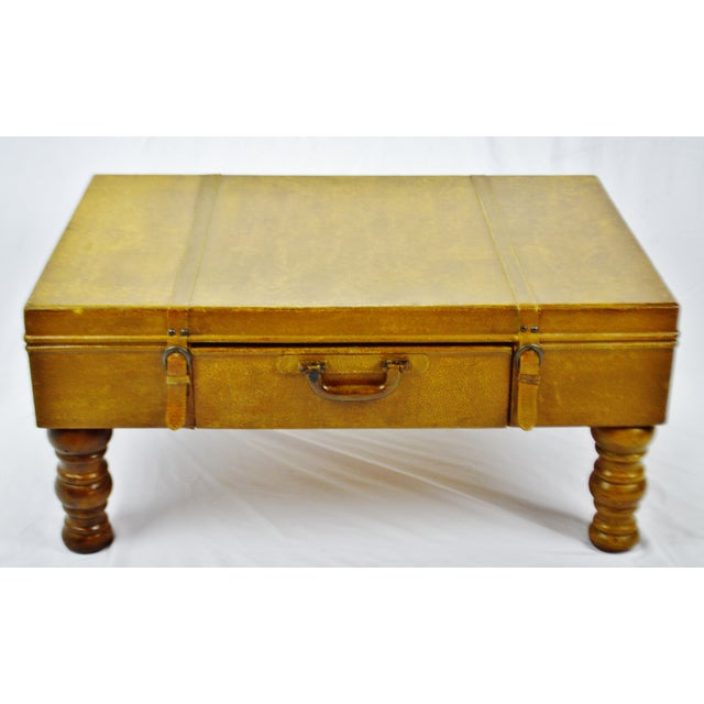 Mid-Century Modern Vintage Faux Leather Suitcase Trunk Coffee Table For Sale - Image 3 of 13