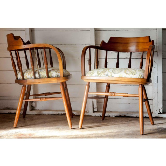 Very rare pair of solid wood Drexel Barrel Armchairs dated June, 1958. The original, rich patina borne of the Mid-century...