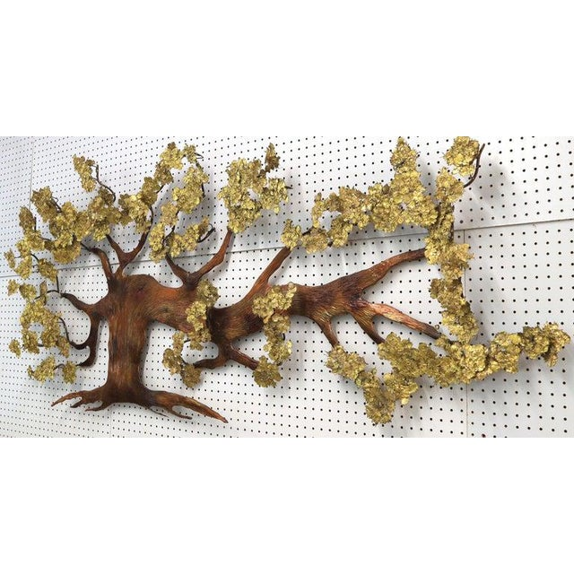 Very Large Tree of Life Metal Brass and Copper Wall Hanging Sculpture For Sale - Image 10 of 11
