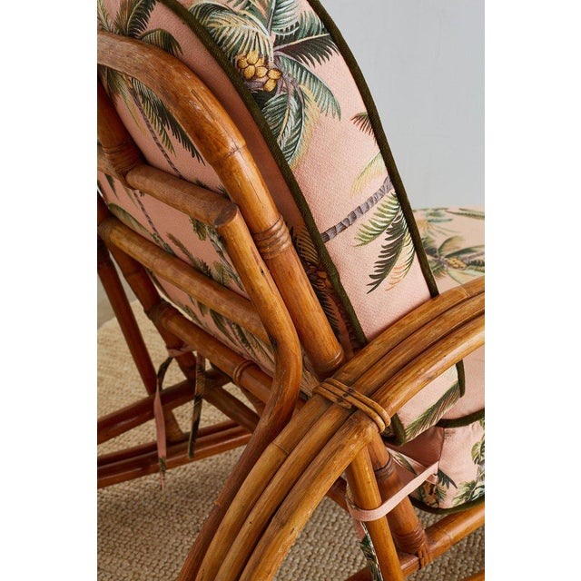 Paul Frankl Style Three Strand Rattan Chaise Lounge For Sale - Image 12 of 13