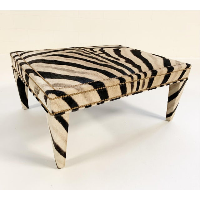Forsyth Zebra Hide Parsons Style Ottoman For Sale - Image 11 of 11