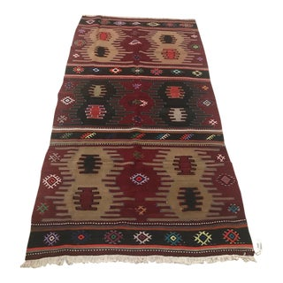 Turkish Anatolian Handmade Cecim Kilim Rug-3'5x6'5 For Sale