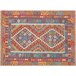 "Nalbandian - Contemporary Afghan Maimana Kilim - 3'6"" X 4'8"" For Sale"