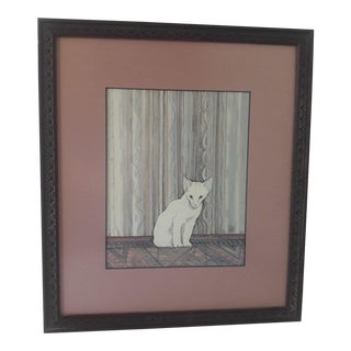 1982 P Buckley Moss Conservation Mounted White Kitten Print