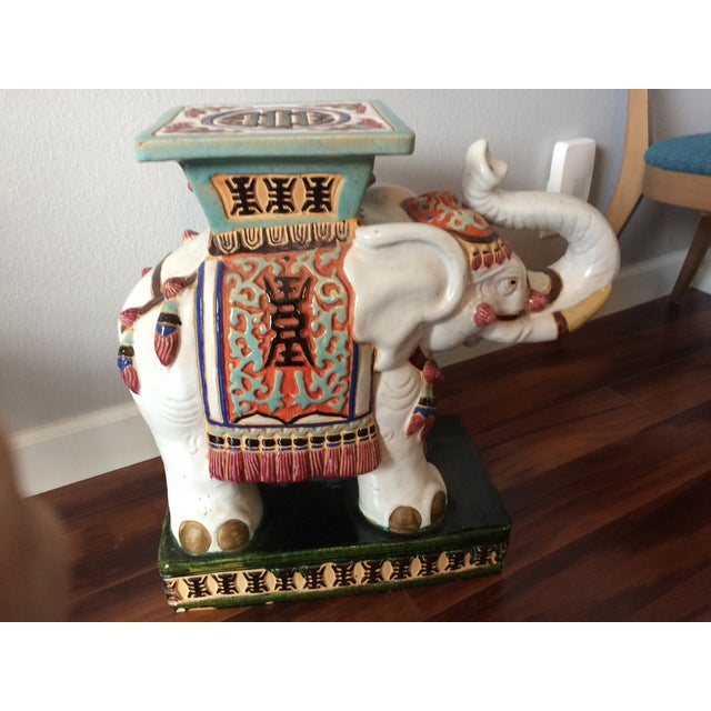 Vintage Asian Elephant Garden Stool or Side Table - Image 2 of 8
