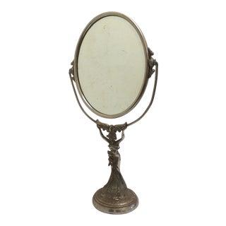 Figural Art Nouveau Vanity Mirror For Sale