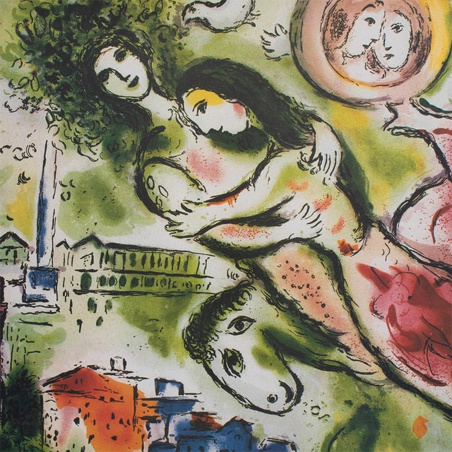 """Marc Chagall Marc Chagall """"The Flying Bouquet"""", XL Limited Edition Print With C. O. A., C.1990s For Sale - Image 4 of 13"""