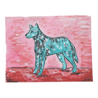 Blue Dog Painting by Cleo Plowden For Sale