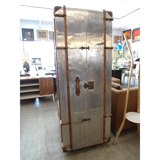 Restoration Hardware Restoration Hardware Steamer Trunk Secretary For Sale - Image 4 of 11