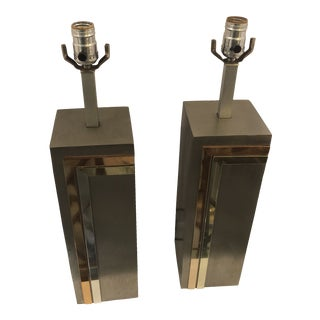 Laurel Gray Metal Lamps in the Style of Pierre Cardin - a Pair For Sale